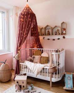 What a magical nursery room by 👈🏻 We've added a selection of linen canopies to our Winter Sale 💕 . Nursery Wall Decor, Baby Room Decor, Nursery Room, Childrens Room Decor, Kids Decor, Home Decor, Baby Bedroom, Kids Bedroom, Bedroom Ideas