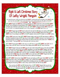 Right Left Gift Exchange Story, Christmas Gift Swap, Right Left Christmas, Right Left Gift Game, Exchange Gifts Game - Printables 4 Less - MyStyles Christmas Gift Exchange Games, Xmas Games, Printable Christmas Games, Christmas Games For Family, Holiday Party Games, A Christmas Story, Party Gifts, Christmas Fun, Christmas Parties