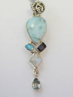 Larimar Pendant 6 with Moonstone, Fire Opal, Amethyst and Blue Topaz