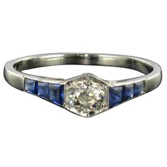 French Art Deco Calibrated Sapphire Diamond Gold Ring | From a unique collection of vintage engagement rings at https://www.1stdibs.com/jewelry/rings/engagement-rings/