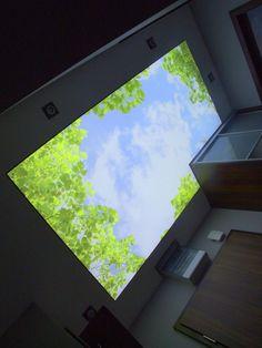 Nadruk przepięknego nieba - ciekawe rozwiązanie do przedpokoju w mieszkaniu prywatnym:)