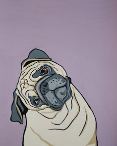 Pug Print  the inquisitive pug by MandasArtStudio on Etsy, $20.00