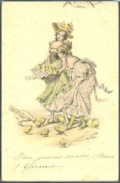 ~HB074 VIENNE Style Paques COUPLE De FEMMES POUSSINS ~