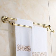 44.09$  Buy here - http://aliako.worldwells.pw/go.php?t=32716901343 - Antique Towel Bar / Towel Holder 60cm Wall Mounted Solid Brass 2-Layer Towel Rack Bronze / Gold / Black