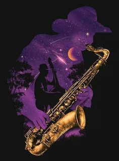 "- Saxophone Sillhouette  I dont think my words will ever be able to explain as to how ""saxy"" its looking. #music #saxophone #art"