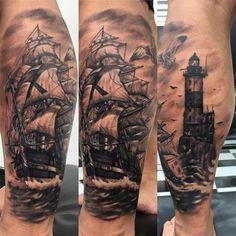 "28 Likes, 1 Comments - MongTattooThailand (@mongtattoothailand) on Instagram: ""Ship and ligthhouse ภ.สำเภากางใบ กับ ประภาคาร #tattoothailand #tattooinpatong #tattoo #mongtattoo…"""