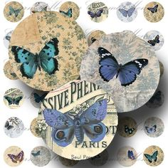Blue Butterfly Digital Collage Sheet - 1 inch rounds - Buy 3 Sheets and get the 4th FREE - Printable Download