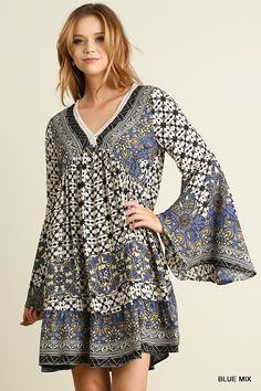 Umgee USA V neck Print Peasant Dress with Bell Sleeves
