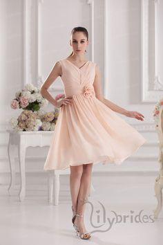 A-line V-neck Handmade Flower Knee Length Bridesmaid Dress