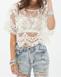 Stylish Scoop Neck Short Sleeves Lace Splicing See-Through Blouse For Women