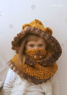 KNITTING PATTERN hooded cowl Adele with beads and a bow (baby, toddler, child, adult sizes) Crochet For Kids, Crochet Baby, Toddler Swag, Knitting Patterns, Crochet Patterns, Crochet Hood, Hooded Cowl, Waffle Stitch, Super Bulky Yarn