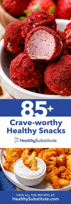 Including- Strawberry Cheesecake Fat Bombs, Buffalo Cauliflower with Homemade Ranch, Anti-Inflammatory Lemon Turmeric Fruit Snacks and over 80 more crave-worthy healthy snacks. snacks, Healthy Snack Ideas (Save this! Low Carb Recipes, Diet Recipes, Cooking Recipes, Healthy Recipes, Recipies, Savory Snacks, Healthy Snacks, Healthy Fats, Healthy Eating