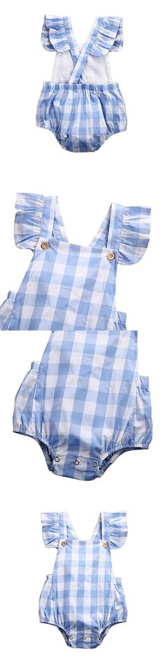 Weixinbuy Infant Baby Girl's Blue Plaid Romper Jumpsuit Bodysuit Outfit Clothes