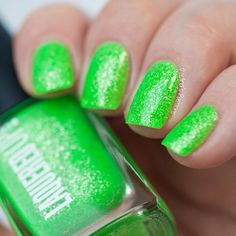 Fiji Handmade Neon Green Nail Lacquer Sterling Silver Flake Cruelty