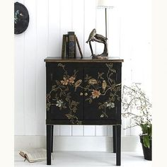 Handpainted Bird & Flower cabinet