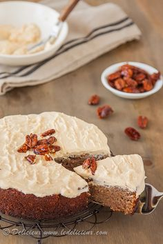 Gluten Free Banana Cake with Cinnamon Cream Cheese Frosting and Salted Honey Roasted Pecans