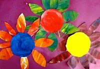 Color mixing lesson... focus on primary colors, secondary colors, and finally complementary colors to create the flowers