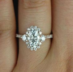 Oval Moissanite Engagement Ring White Gold Unique Cluster Ring Brilliant Wedding Bridal set Jewelry Anniversary Promise Gift for Women - Fine Jewelry Ideas - Hochzeit Wedding Ring Styles, Wedding Rings Simple, Wedding Jewelry, Wedding Bands, Prom Jewelry, Hippie Jewelry, Wedding Rings Teardrop, Diamond Wedding Rings, Solitaire Rings