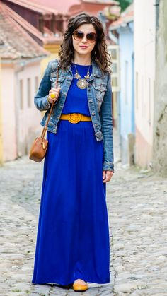 maxi cobalt blue dress and mustard hints