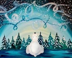 Learn to Paint Windy Winter Sky tonight at Paint Nite! Ur artists know exactly how to teach painters of all levels - give it a try! Night Sky Painting, Winter Painting, Painting For Kids, Diy Painting, Christmas Paintings On Canvas, Christmas Canvas, Christmas Art, Winter Sky, Paint And Sip