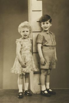 Princess Anne and Prince Charles in April of 1954