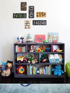 Vintage license plates as wall decor in a little boys room, book shelf storage - like this book shelf, DIY inspiration for B's room