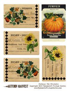 Ephemera's Vintage Garden: Free Weekly Printable - Autumn Harvest Tags