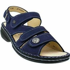 Finn Comfort Women's Gomera Lake Nubuck 38 M EU (7-7.5 US Women) Adjustable strap with buckle closure. Approx. 112 heel height. Three adjustable straps with hook-and-loop closures. Leather or metallic leather upper. Metal medallion.  #Finn_Comfort #Shoes