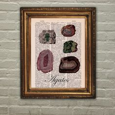 Dictionary Print: Agate Stones Minerals Gems by PrintsofRogues
