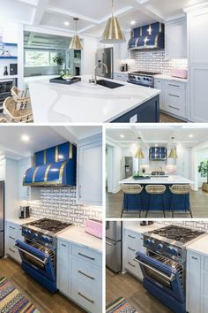 This is a complete first floor renovation. A charming traditional home that has a kitchen with a big personality maintains symmetry, balance and serenity while still having elements that were bright and vibrant. My client is an incredibly talented artist who allowed me to be creative and bold with these beautiful pops of color. My favorite element in the kitchen is most definitely the BlueStar® Range and Custom Hood. Beautiful Kitchen Designs, Beautiful Kitchens, Bluestar Range, Thinking Outside The Box, Home Chef, Still Have, Traditional House, Serenity, Color Pop