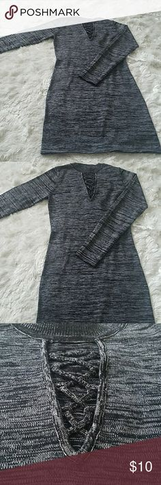 Little Black Dress Heathered black and gray dress with laced cleavage exposure . Great stretchy Rayon and Polyester blend. Almost Famous Dresses Long Sleeve
