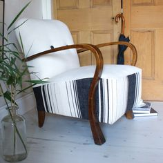 1920s Club Armchair with curved arms in striped Linen fabric