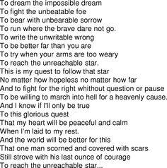 To dream the impossible dream lyrics