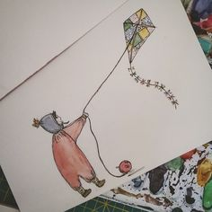 Boy and Bear - kite adventures a watercolor story 2016 by Janina Sperling