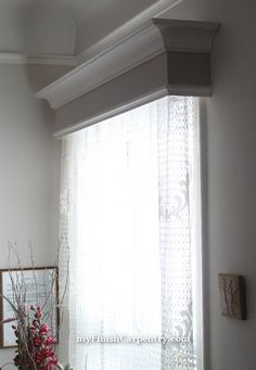 DIY valence window box to frame the curtains at the sliding door. & after-before-window-valance-box going to try this for my bed room ...