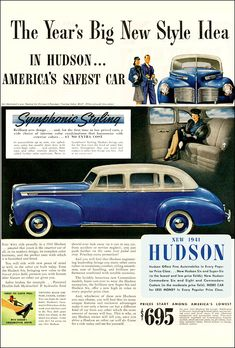 Learn How To sell your photos online easily And Make Profits. Vintage Advertisements, Vintage Ads, Hudson Car, Hudson Hornet, American Motors, Futuristic Cars, Car Advertising, Vintage Bikes, Photo Online