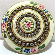GOLD ENAMEL HAND PAINTED MARCASITE LARGE BUTTON PIN