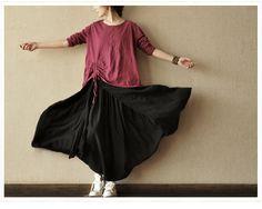 Asymmetrical Loose Fitting Cotton Tshirt for Women   by deboy2000, $49.99