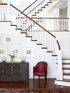 5 Ways to Dress Wood Stairs But then again, there's something truly beautiful about leaving the staircase alone and not adding a runner at all. Purposefully choosing to not include a runner allows the stained wood to take the spotlight, and when coupled with white risers and balusters, the contrast is striking.