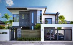 1432 square feet Square Meter) Square Yards) nice small double storied house with 3 bedrooms. Design provided by Home Design . 2 Storey House Design, House Front Design, Modern House Design, Dream House Plans, Modern House Plans, Modern Zen House, Philippines House Design, Double Story House, House Elevation