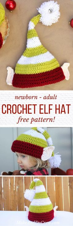 Free crochet elf hat pattern with ears! Make one for each member of the family. Perfect Christmas photo prop idea. Free pattern sizes include 0-3 months (newborn), 3-6 months (baby), 6-12 months, toddler/preschooler, child and adult. Click to see full pattern.   MakeAndDoCrew.com