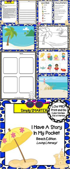 Every child has a story in their pocket, don't they?  Enjoy this writing resource which is comprised of a color version and black and white version of BEACH themed STORYTELLING activities. They have story starters and a word bank to assist them in writing their story.  They will create a story pocket using the story boards in which to store the characters, story starters, and word bank.  They can bring out their story pocket any time to help them create more oral and written stories.