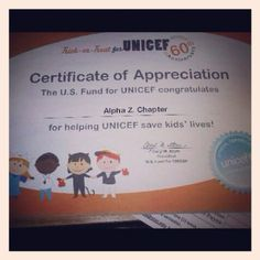 Today's Phiota Picture: Our Alpha Zeta Chapter receives their UNICEF certificate.