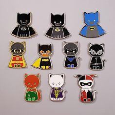 Gotham Cats - Hard Enamel Pins by Cynthia Tizcareno