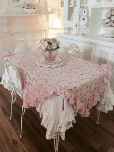 One tablecloth on top of another. And ruffles.