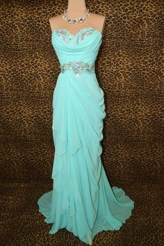 Custom Made Cheap Long Strapless Chiffon Prom Dress by FreePeoples, $195.99. Flattering at the hips. Tiffany blue. Cinched at the waist.