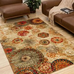 "Vibrance Collection Watercolor Scroll Multi Olefin Area Rug (5'3"" x 7'6"") 