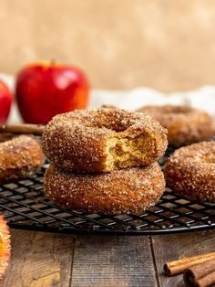 The absolute BEST Baked Vegan Apple Cider Donut recipe. These homemade donuts are easy, moist, fluffy, delicious, egg-free, & dairy-free. Apple cider & applesauce are used to make these vegan cake donuts sweet & flavorful. Make them old-fashioned by coating them in cinnamon sugar & enjoy! #sgtoeats #appleciderdonuts #vegandonuts #veganappleciderdonuts Healthy Vegan Desserts, Donut Recipes, Healthy Dessert Recipes, Sweet Desserts, Apple Recipes, Vegan Recipes, Fall Recipes, Vegan Treats, Vegan Food
