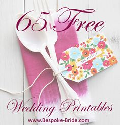 65 Free Wedding Printables! (This humongous list is for all the brides on a budget out there, or the couples wanting to add a DIY touch to their wedding day!) Wedding Bells, Plastic Silverware, Plastic Ware, Cutlery, Wedding Printable, Printable Templates, Printable Tags, Printable Flower, Free Wedding