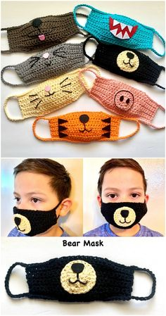These Face Masks are our favorites and we have something for everyone. Check them all out now and be sure that you Pin your favorites. Crochet Mask, Crochet Faces, Crochet Animals, Knit Crochet, Easy Face Masks, Best Face Mask, Diy Face Mask, Homemade Face Masks, Animal Face Mask